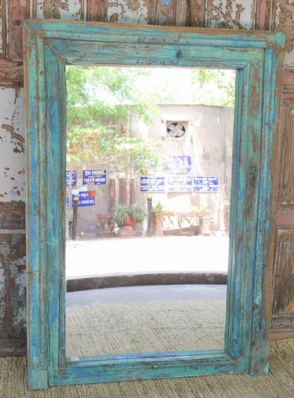 19th century doorway mirror with chalky paint tones, gujarat <b>SOLD<b>